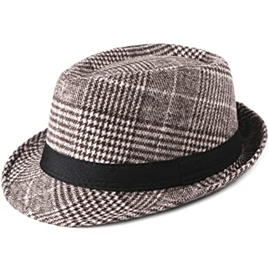 64b826f6ded514 Autumn Winter Wool Hats Men Women Plaid Trilby Hats with Band Vintage Retro  Men Fedora Hats Brown at Amazon Men's Clothing store: