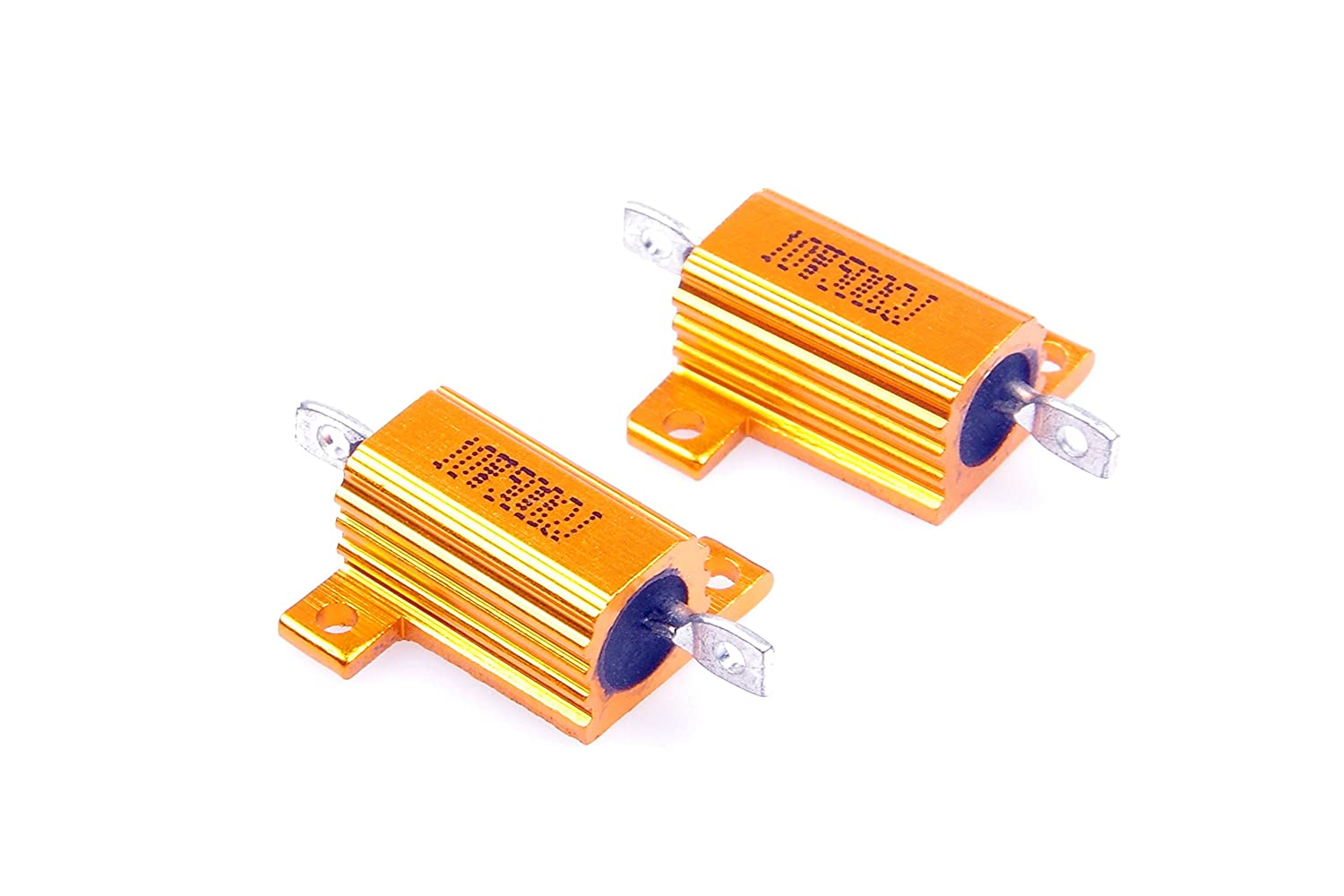 LM YN 10 Watt 500 Ohm 5/% Wirewound Resistor Electronic Aluminium Shell Resistor Gold for Inverter LED lights Frequency Divider Servo Industry Industrial Control 2-Pcs