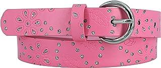 EANAGO Kindergürtel 'Pink Star' für Mädchen (Kindergarten und Grundschulkinder, 5-10 Jahre), 65 cm, pink mit Glitzersteinchen und Prägemuster