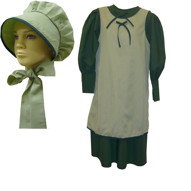 Vintage Style Children's Clothing: Girls, Boys, Baby, Toddler Prairie Dress Schoolgirl Dress Apron & Bonnet Costume Set 1228 $46.88 AT vintagedancer.com