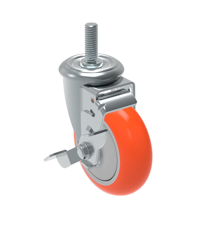 Schioppa GLEHH 412 UPE SL L12 Series 4 x 1-1/4 Diameter Swivel Caster with Wheel Lock Brake, Non-Marking Polyurethane Precision Ball Bearing Wheel, 12 mm Diameter x 50 mm Length Threaded Stem, 275 lb by Schioppa  B00PS79Z7Y