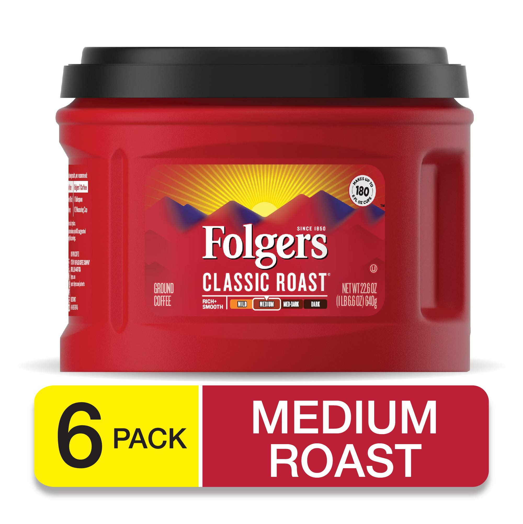 Folgers Classic Roast Ground Coffee, Medium Roast, 22.6 Ounce (Pack of 6), Packaging May Vary by Folgers