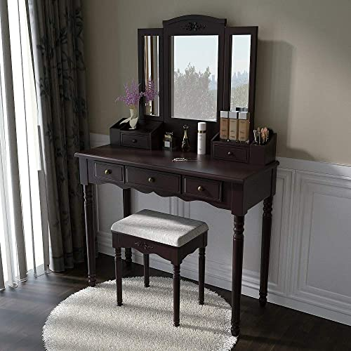 Vanity Set Makeup Vanity Desk Dressing Table with Mirror, Drawers and Stool for Corner Bedroom, Girls in Brown