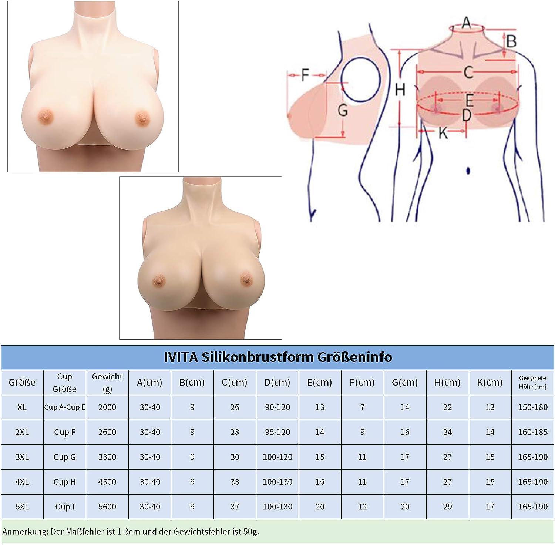 IVITA Silikon Brustformen f/ür Crossdresser Mastektomie Prothese Transgender Cosplay Shemale Drag Queen