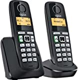 Gigaset A220A Digital Cordless Telephone with Answering Machine, Duo DECT - Black