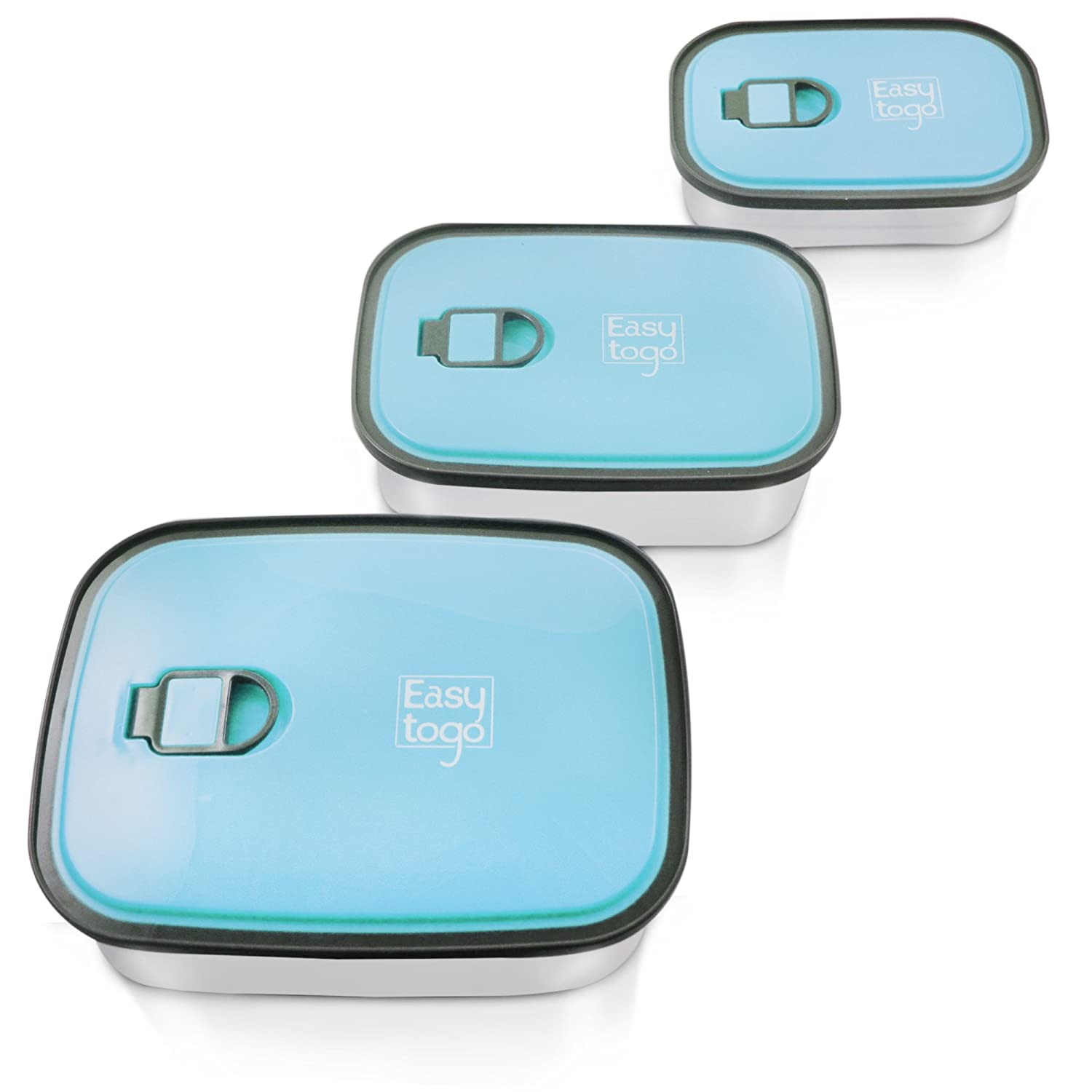 Leak Proof Bento Lunch Box Set – 3 Pack Nesting Stainless Steel Metal Storage Food Containers for Men Women or Kids – BPA Toxin Free for Work or Healthy School Lunches - Durable Sandwich Box