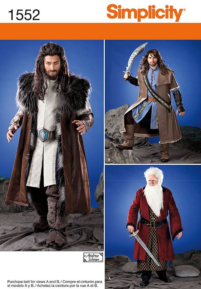 Hobbit Dwarf Dwarves Simplicity Creative Sewing Patterns 1552 Men's Medieval Tunic, Cloak and Accessories, A X-Small-Small-Medium-Large-X-Large