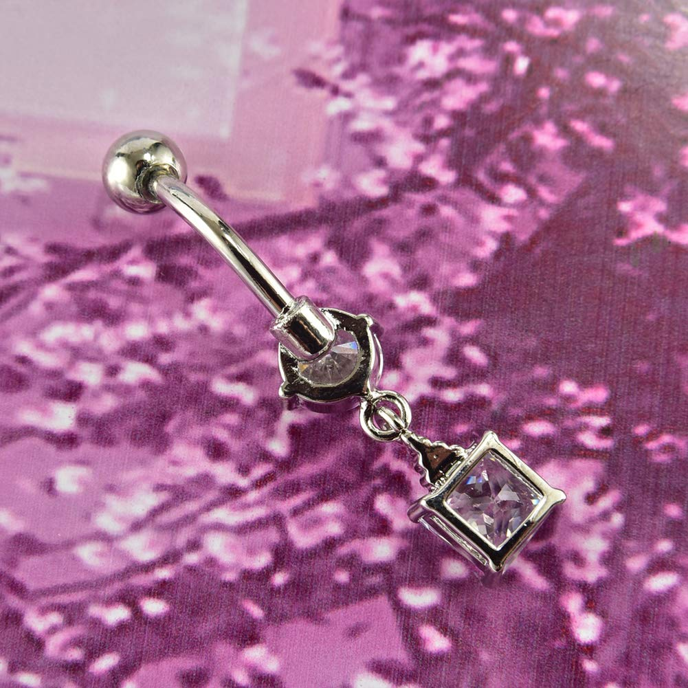 Surgical Steel Belly Button Ring Vintage Single Round and Square Zircon Dangle Belly Rings Piercing Jewelry