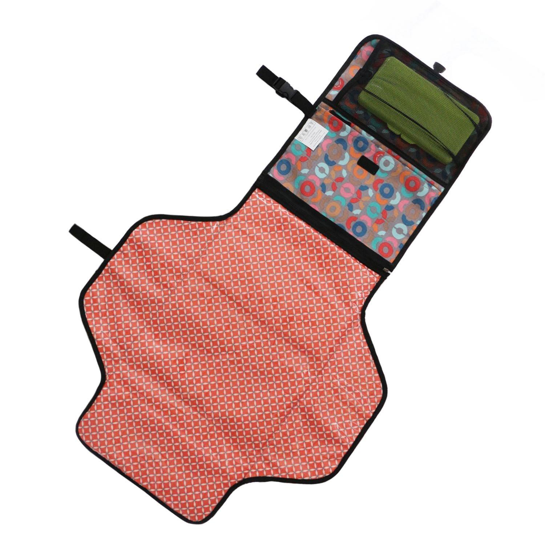 Toweter Cambiador plegable impermeable para beb/é con bolsa para pa/ñales y funda para toallitas Circle