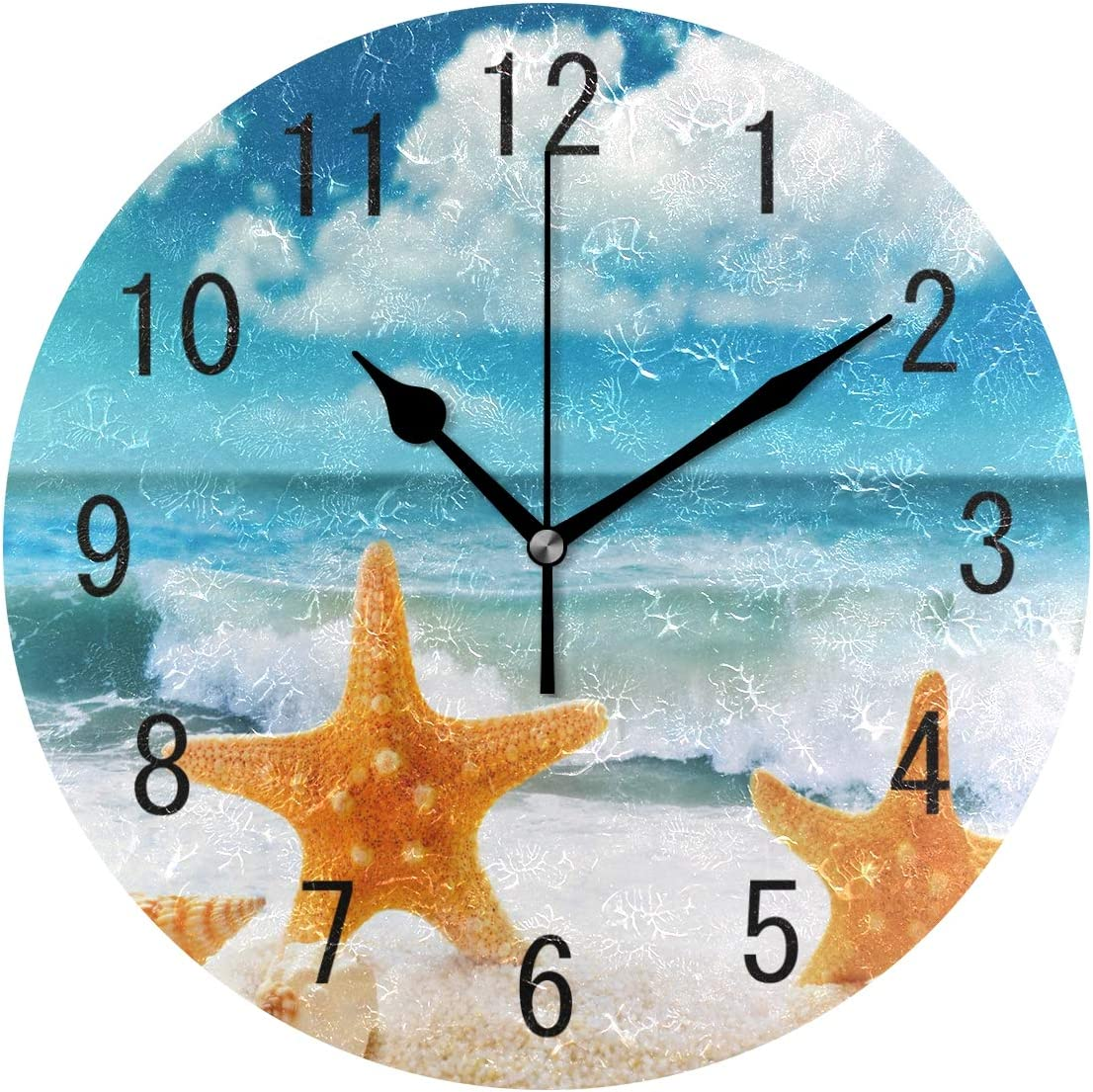 ALAZA Home Decor Seashell Starfish Sea Wave Ocean Round Acrylic 9.5 Inch Wall Clock Non Ticking Silent Clock Art for Living Room Kitchen Bedroom