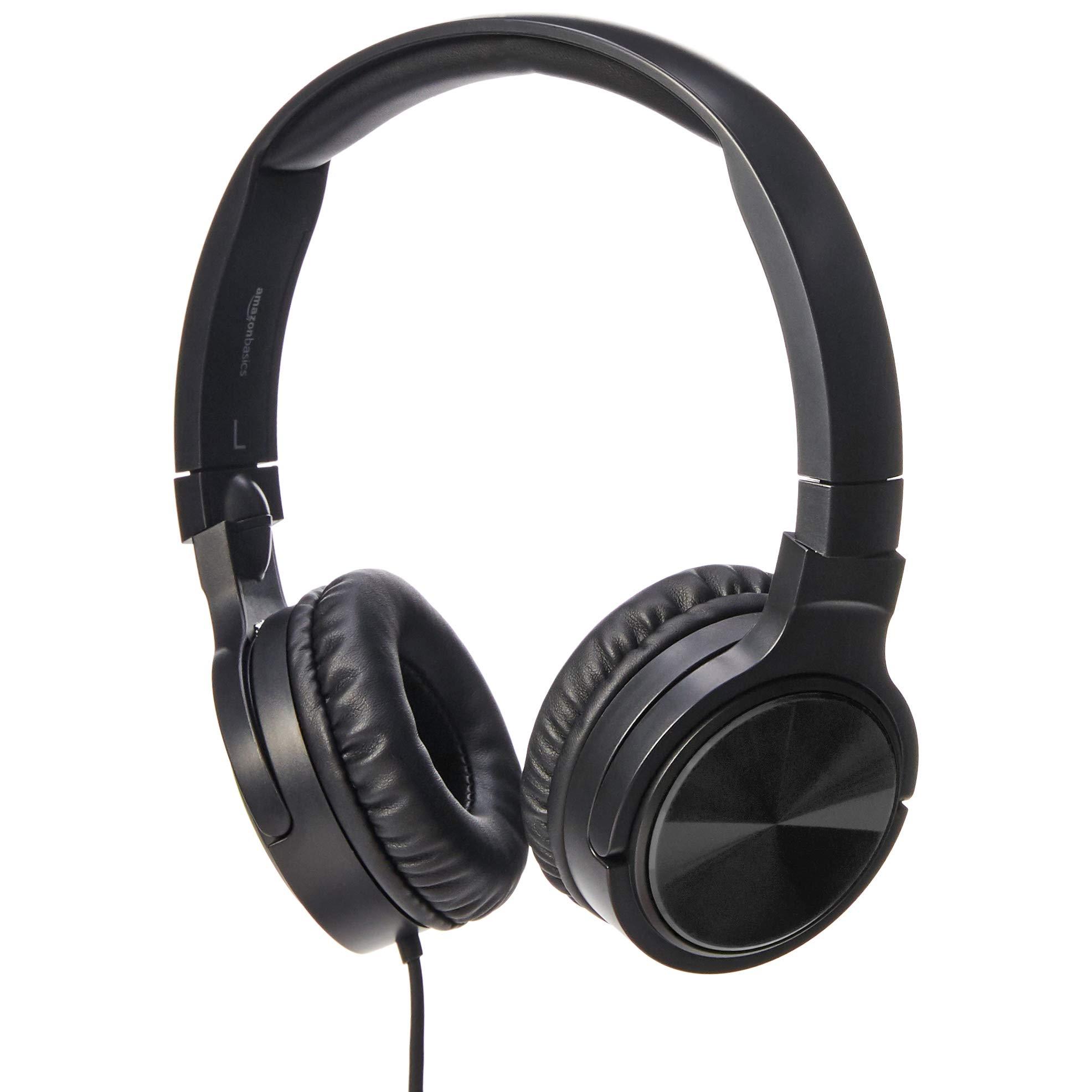 AmazonBasics Lightweight On-Ear Wired Headphones, Black