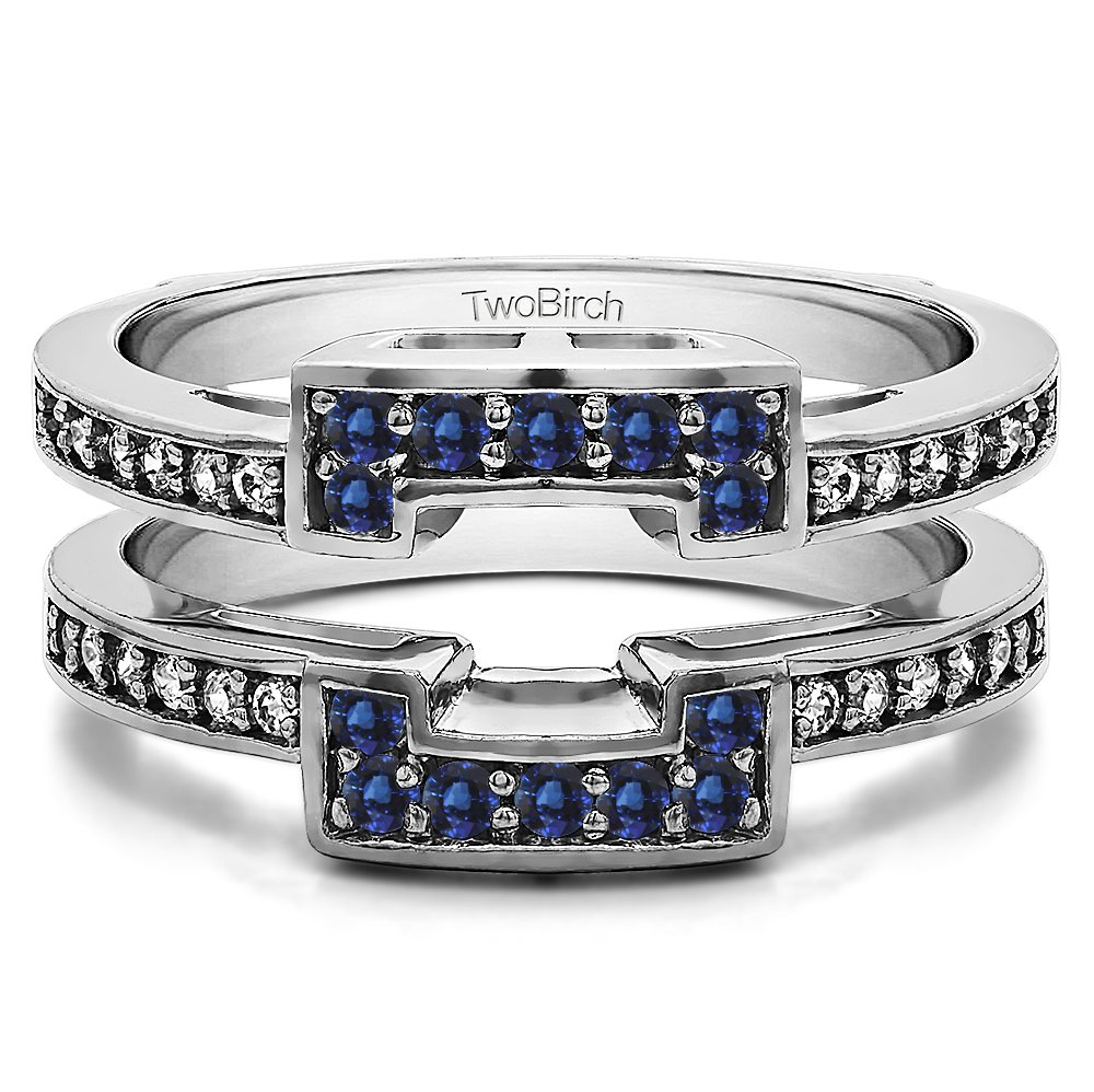 Silver Square Halo Style Ring Guard and Solitaire Guard with Diamonds and Sapphire (0.42 ct. twt.)