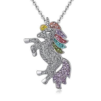 Unicorn Pendant Necklace Rainbow Crystal Rhinestone Silver Chain Girls Gift