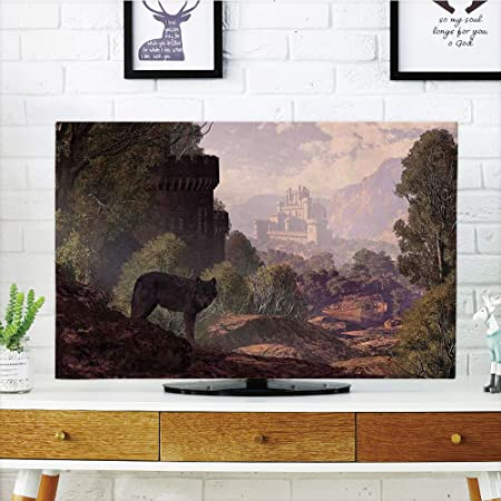 iprint LCD TV Cubierta de Polvo, Lobo, Dibujado a Mano Monocromo ...