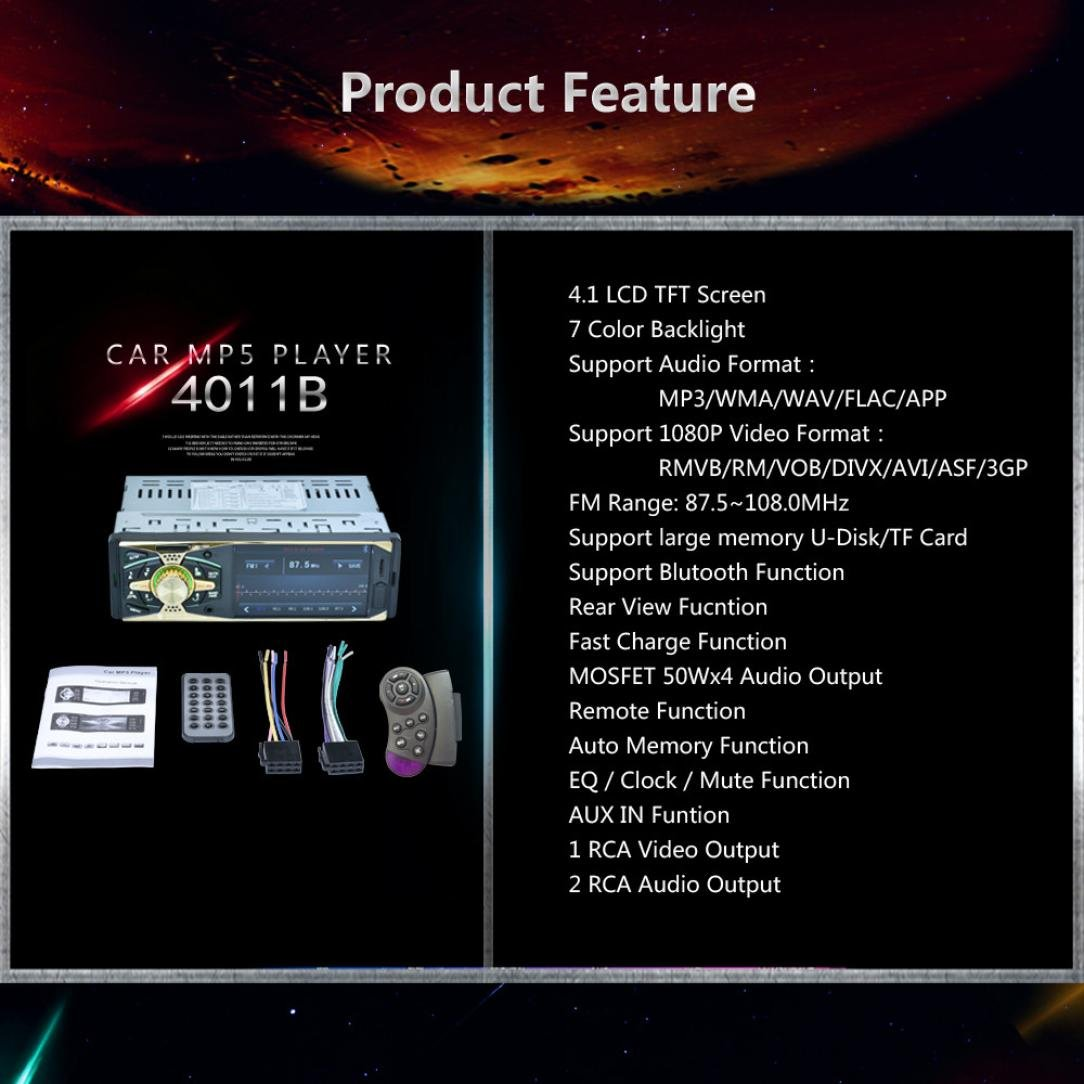 Sannysis Auto radio Reproductor de radio MP5 AUX FM C/ámara con 4.0 Bluetooth Oro