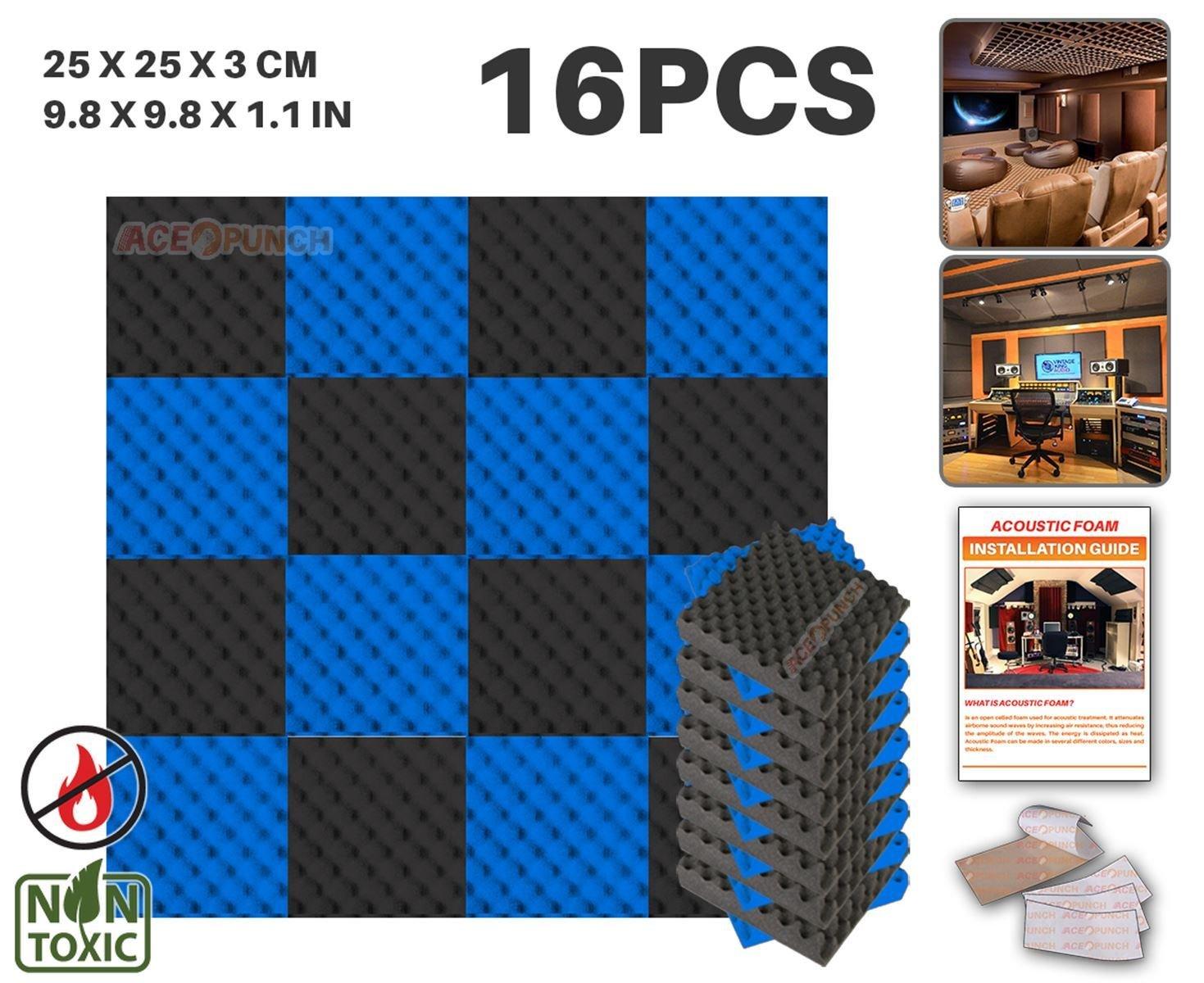 Ace Punch 16 Stück SCHWARZ UND BLAU Farbkombination Egg Crate Noppenschaumstoff Akustikschaumstoff DIY Entwurf Mit Freiem Klebestreifen 25 x 25 x 3 cm AP1052