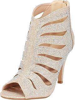 f3578f6532 Cambridge Select Women s Glitter Crystal Rhinestone Open Toe Cutout Caged  Stiletto High Heel Ankle Bootie