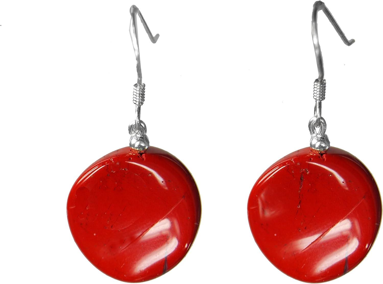 Pendientes de jaspe rojo circular y trenzado con forma de pendiente de 925er de plata