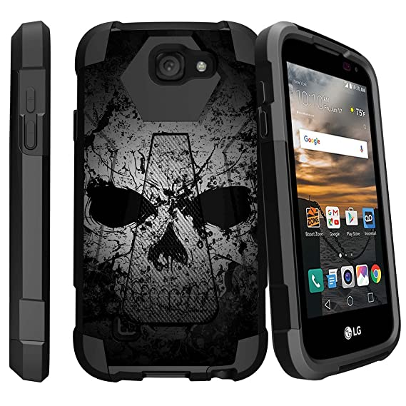 huge discount 877f3 3011f MINITURTLE Case Compatible w/ LG K3 Case| LG LS450 Cover [SHOCK FUSION]  Dual Layer Bump and Drop Protection Case w/ Built in Stand Faded Skull