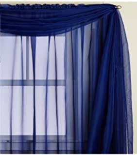 1 X Beautiful Elegant Voile Sheer Valance Scarf 37 216 Topper Navy Royal