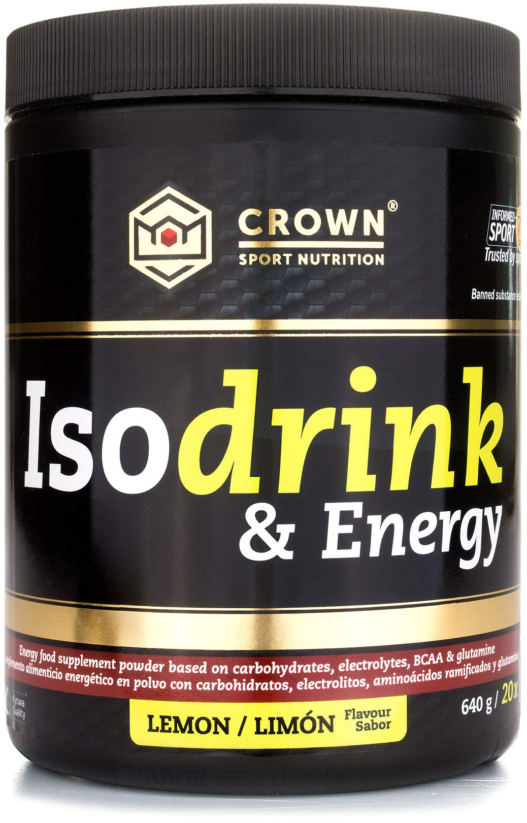 Crown Sport Nutrition Isotonic Drink, Bebida isotónica con carbohidratos, BCAAs, glutamina y electrolitos