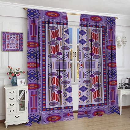 Smallbeefly Afghan Blackout Window Curtain Timeless Tribal Pattern With Middle Eastern Folklore Traditional Afghan Shapes Dots Patterned Drape For Glass Door 96 X72 Multicolor Amazon Co Uk Kitchen Home