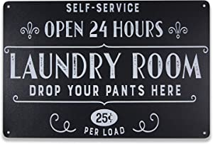MUPIANLX Laundry Room Vintage Metal Sign Open 24 Hours Black Decorative Signs Wash Room Home Wall Decor Bathroom Large Laundry Signs 8x12 Inch
