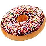 Nunubee Mignon Coussins en Forme de Donuts Coussins de Chaise Décoratifs Oreillers Jouet En Peluche, Coloré Saupoudrez de Chocolat