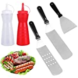Qing Z Griddle Accessories-6 Piece Grill Set Stainless Steel Professional Grade Grill Griddle BBQ Tool Kit-2 Spatulas, 1 Chopper Scrapper,2 Bottles and Environmental Drawstring Bag