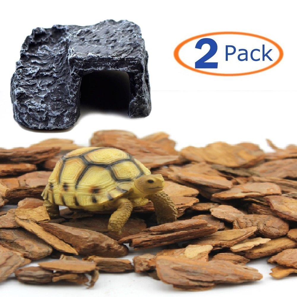 Reptile Habitat,Bark Bed Cave Hide-Out Aquarium Resin(Pack of 2) (650g)