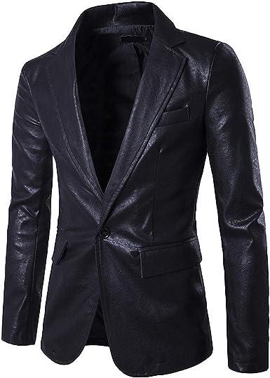 Mens Faux Leather Lapel Slim Fit Business Blazer Jacket Warm Coat