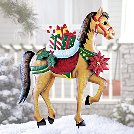 elegant iron garden stake horse stallion w poinsettia flowers holly ivy berries gift presents metal - Christmas Horse Yard Decorations