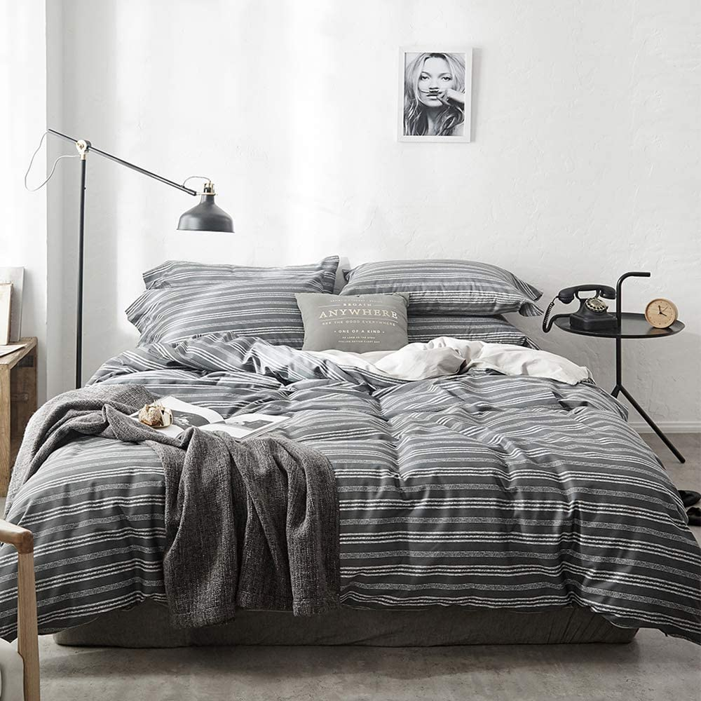 【Latest Arrival】Duvet Cover Lightweight Stripe Duvet Cover King Pinstripe Comforter Cover Cotton Modern Duvet Cover Bed Set Geometric Bedding Collection Hotel Quality with Ties,NO Comforter NO Sheet 71P8YtMvpSL