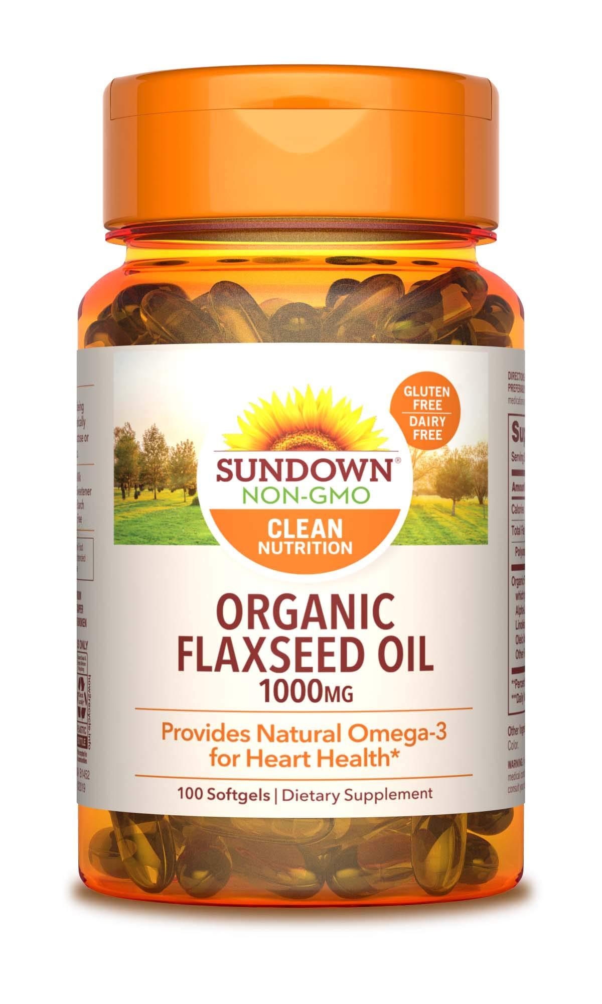 Sundown Naturals Flaxseed Oil 1000 mg, 100 Softgels (Pack of 3)(Packaging May Vary)