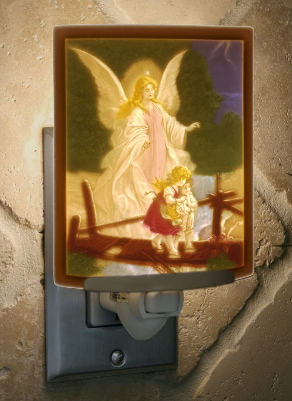 Angel at The Bridge Colored Porcelain Lithophane Night Light