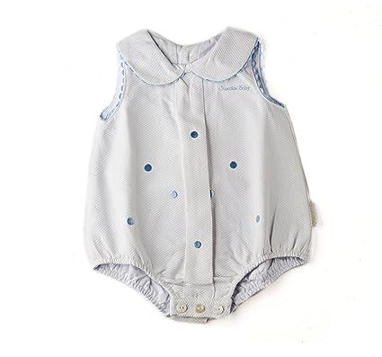 Artesanía Cuadrado - Ranita para bebé de piqué con bodoques bordados - 3 meses, Blanco