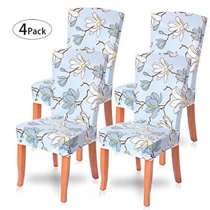 Phenomenal Searchi Dining Room Chair Covers Slipcovers Set Of 4 Spandex Fabric Fit Stretch Removable Washable Short Parsons Kitchen Flower Chair Covers Machost Co Dining Chair Design Ideas Machostcouk