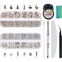 Nibiru Round & Multi-Shape Rhinestone Set for Nail Art, Mix 12 Styles FlatBack Crystals 3D Decorations Nail Gems…