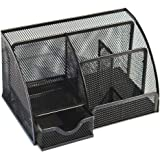 Office Desk Organizer with 6 Compartments Drawer | The Mesh Collection Black Desktop Organizer With 6 Compartments Of Well-thought Out Dimensions