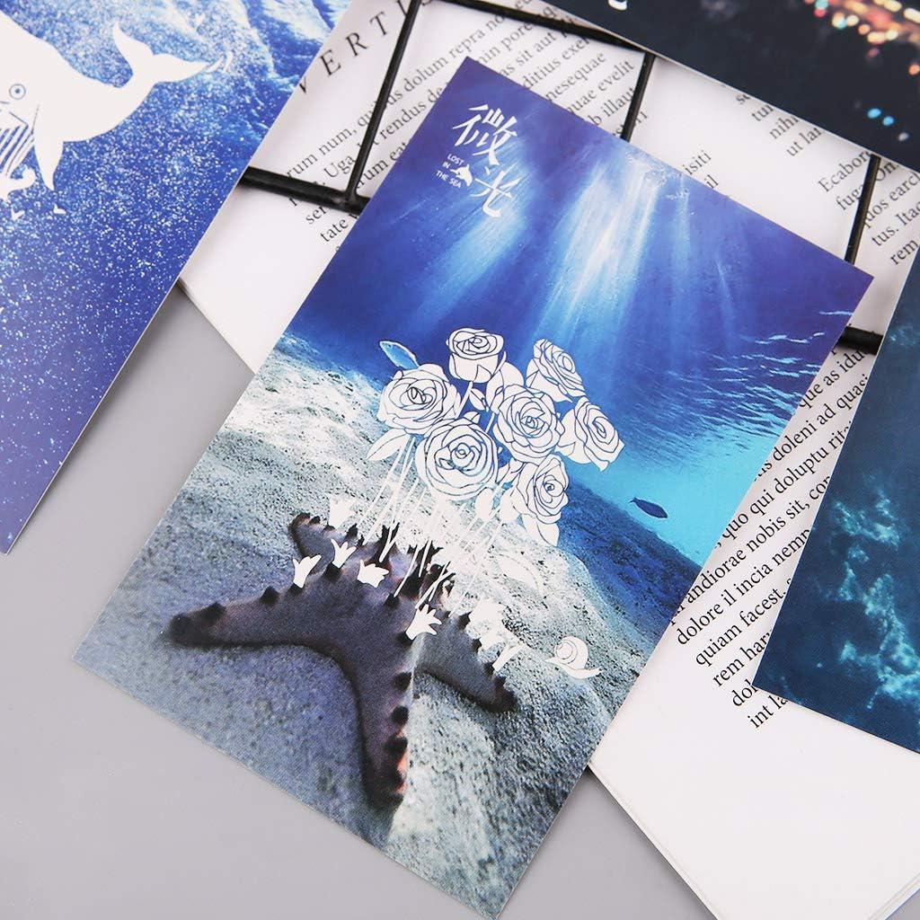 Mingo 30pcs Vintage Luminous Postcard Glow In The Dark Ocean