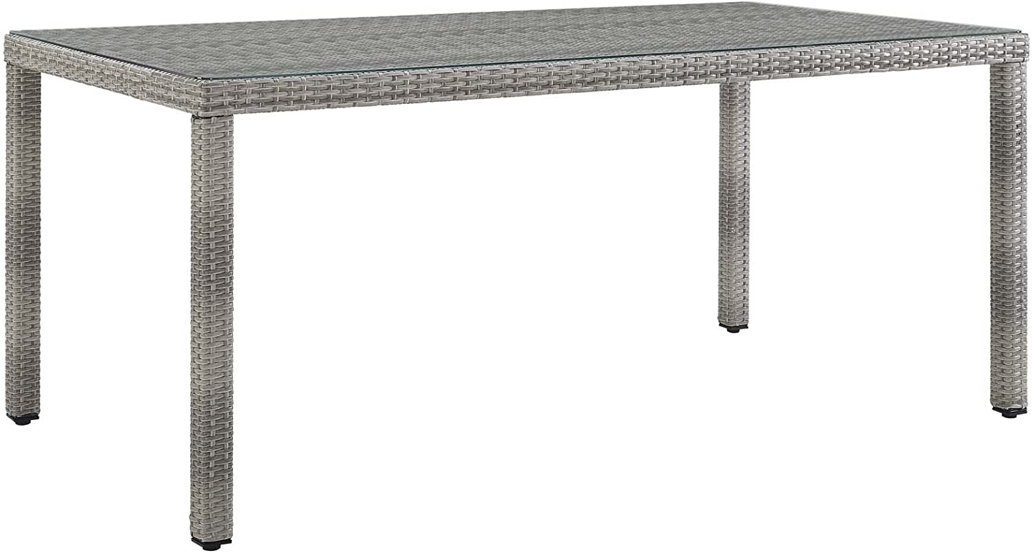 """Modway Aura Wicker Rattan Glass Outdoor Patio 68"""" Rectangular Dining Table in Gray"""