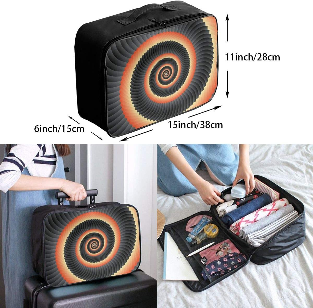 Geometrical Concentric Swirl Lightweight LargeTravel Storage Luggage Trolley Bag Travel Duffel Bags Carry-On Tote