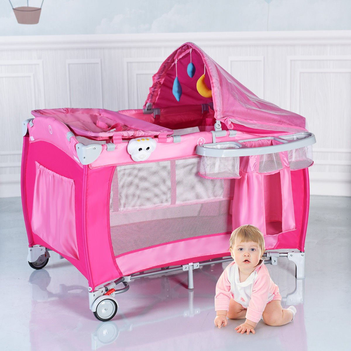 New Foldable Baby Crib Playpen Travel Infant Bassinet Bed Mosquito Net Music w Bag Costway