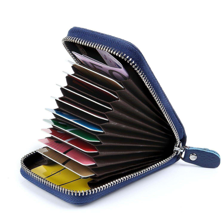 AirZyx Kreditkartenetui Damen Leder RFID Schutz Reißverschluss (Blau)