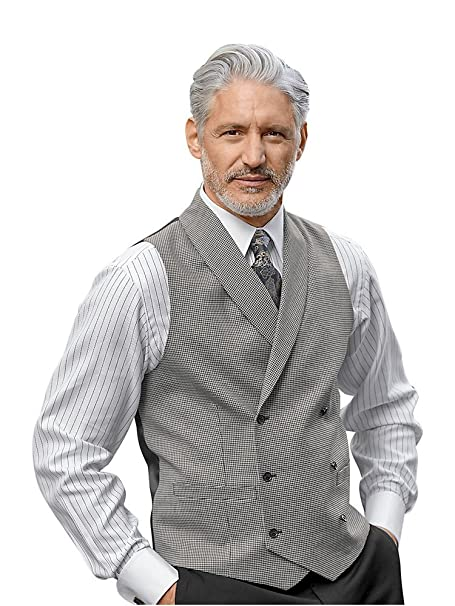 Men's Vintage Vests, Sweater Vests Paul Fredrick Mens Wool Houndstooth Double Breasted Shawl Lapel Vest $124.95 AT vintagedancer.com
