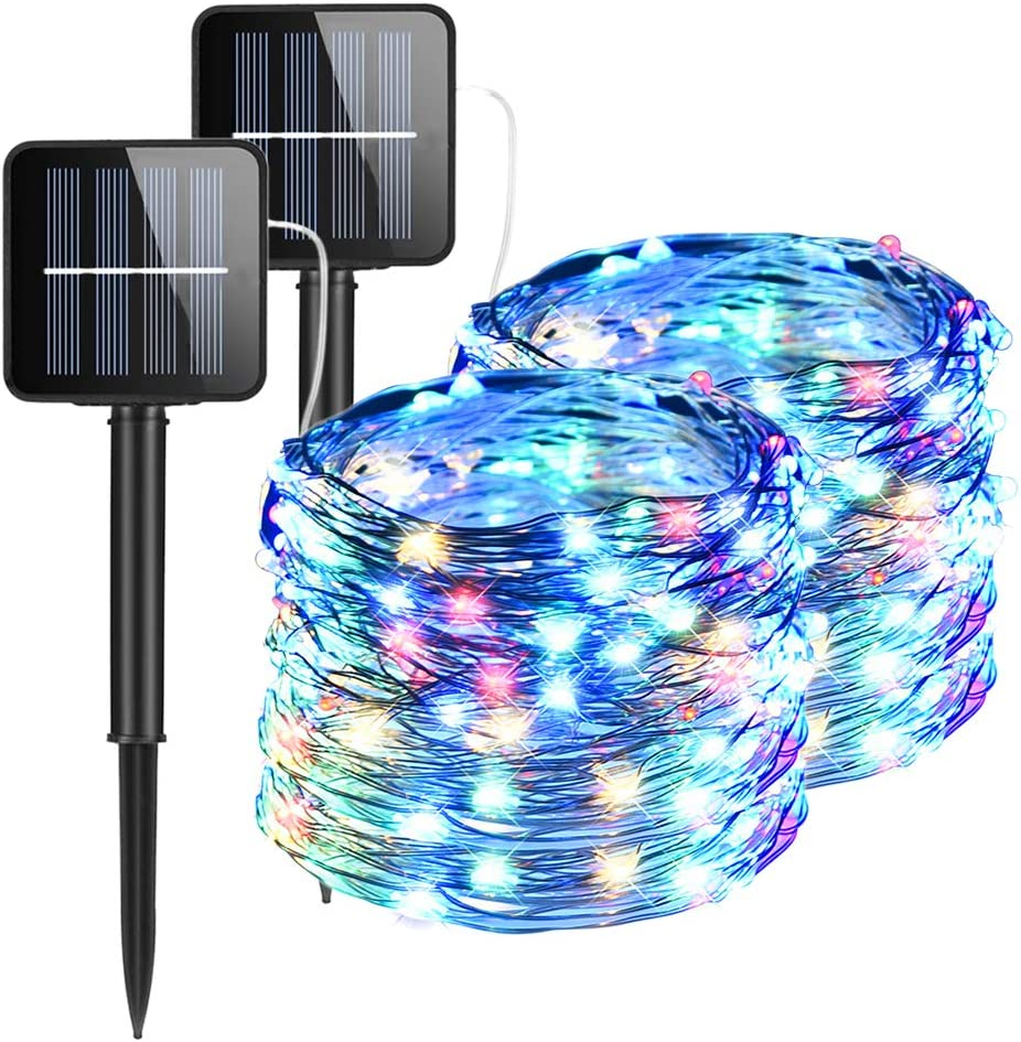 2 Pack Solar String Lights, 100 LED Solar Powered Fairy Lights Waterproof 33FT Garden Copper Wire Lighting with 8 Modes for Outdoor, Patio,Wedding, Yard, Christmas, Halloween (Multicolor)