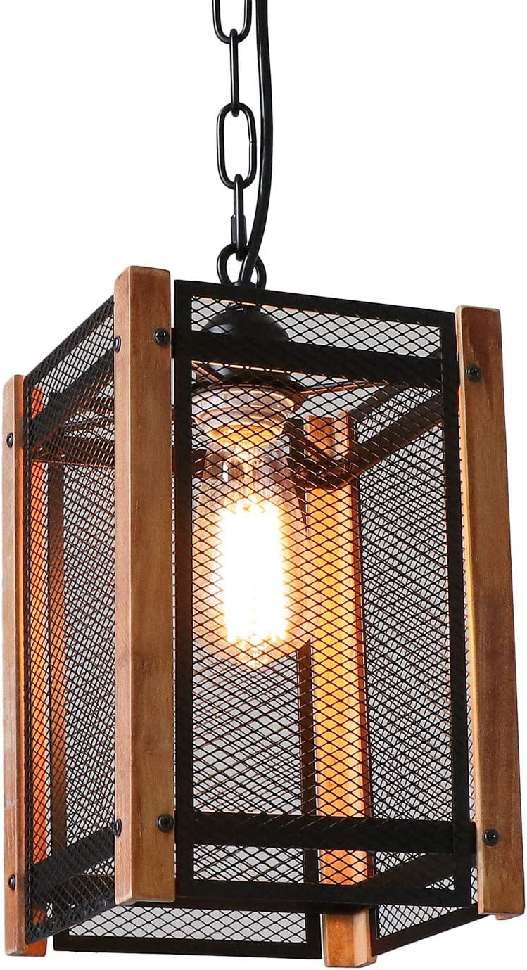 Anmytek Metal Nets Shade Pendant with Wooden Frame 1 Light Metal Cage Chandelier Anitque Rustic Loft Style Home Decorative Lighting Fixture Black Painted Finishing Hanging Lamp