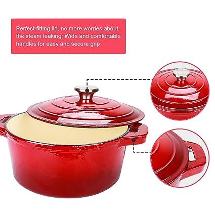 5.2 L 26 cm Kapazit/ät Auflauf mit runder Kapazit/ät Puricon Emaille Gusseisen Kochtopf Backblech Rot