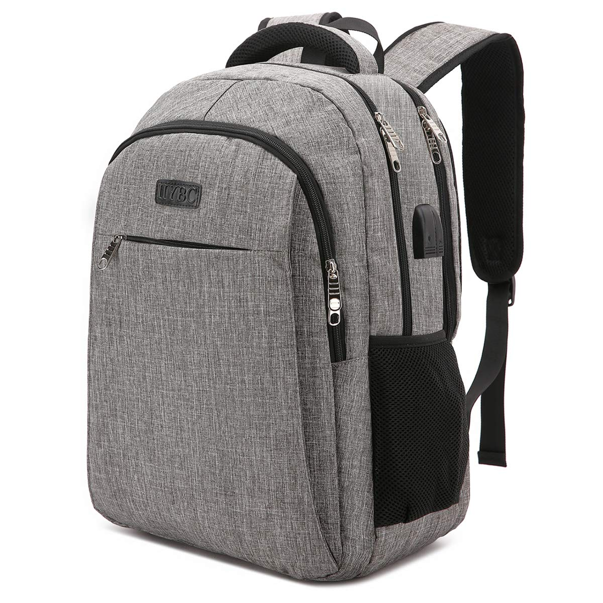 Travel Laptop Backpack, IIYBC Business Anti Theft Laptop Backpack with USB Charging Port & Headphone Interface, Waterproof College School Computer Bag for Women & Men Fits 15.6 Inch Notebook (Gray)