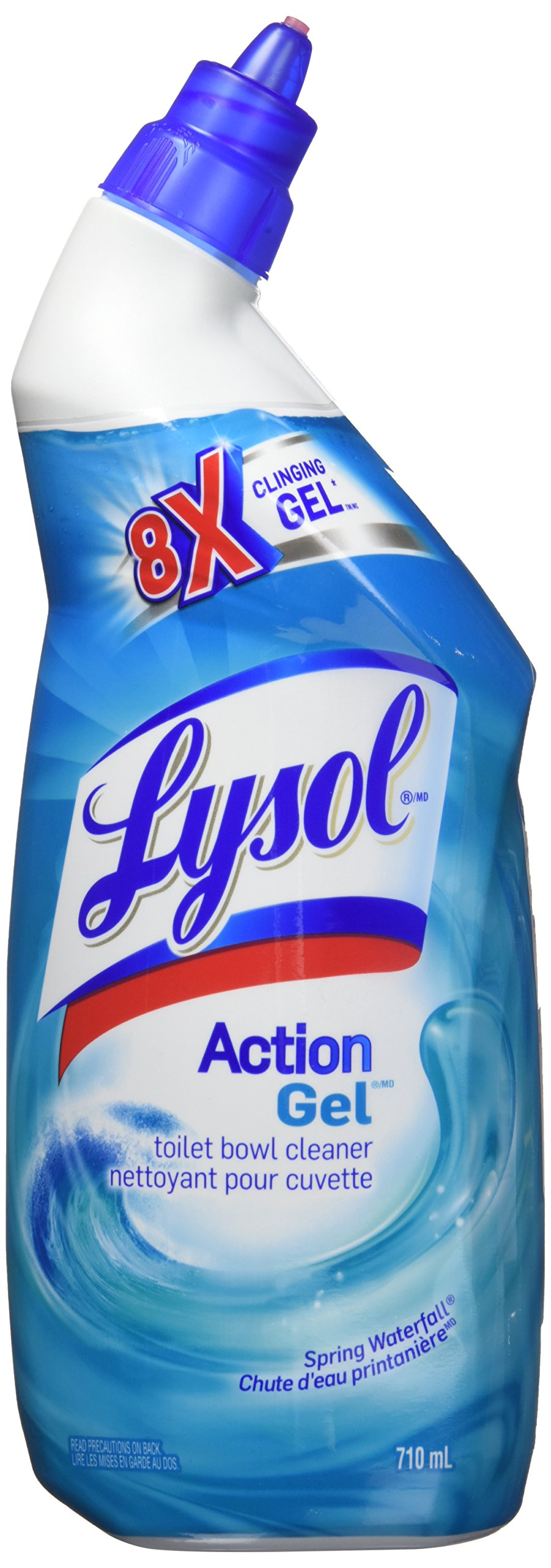 Lysol Toilet Bowl Cleaner, Action Gel, Spring Waterfall, 710ml, 8x Clinging Gel product image